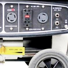 Control panel of a portable genset